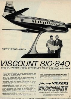 Continental Airlines Livery Aircraft featured on Vickers Viscount Advert Circa 1950s