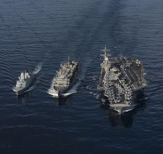 MEDITERRANEAN SEA (Feb. 18, 2017) The fast combat support ship USNS Supply (T-AOE 6) resupplies the Danish navy frigate HDMS Peter Willemoes (F 362), left, and the U.S. Navy aircraft carrier USS George H.W. Bush (CVN 77) during a replenishment-at-sea in the Mediterranean Sea. The George H.W. Bush Carrier Strike Group is conducting naval operations in the U.S. 6th Fleet area of operations