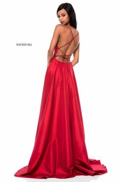 Sherri Hill 52022 Lace-Up Back Prom Gown/ 34. Comes in red, emerald, navy, black