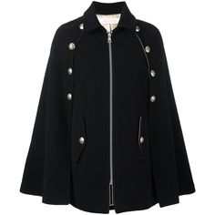 See by Chloe' Zipped Coat With Buttons ($520) ❤ liked on Polyvore featuring outerwear, coats, black, see by chloe coat, zip coat, buttoned cape coat, zipper coat and cape coat