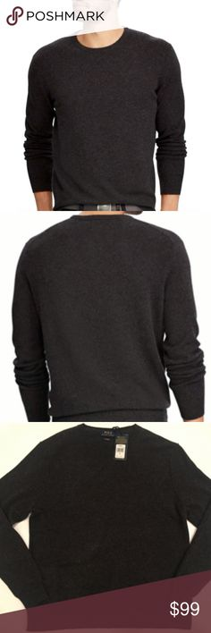 "100% Cashmere Dark Grey Classic Crew Neck Sweater Ralph Lauren Polo Cashmere Sweater Size Large  Chest: 46"" Length: 28"" 100% Cashmere Color: Dark Grey Brand new with tag. Retail price $265 Crewneck,  super soft Polo by Ralph Lauren Sweaters Crewneck"
