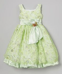 Loving this Lime Sequin Bow Babydoll Dress - Infant, Toddler & Girls on #zulily! #zulilyfinds
