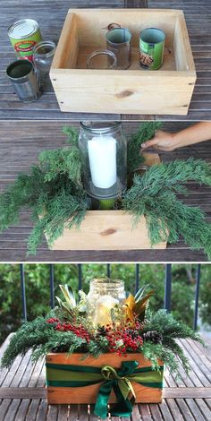 Beautiful & Free DIY Christmas Centerpiece Beautiful & Free DIY Christmas Centerpiece,DIY – Weihnachten How to make a beautiful and free DIY Christmas centerpiece in 10 minutes! Deco Table Noel, Natal Diy, Theme Noel, Diy Centerpieces, Christmas Centerpieces For Table, Christmas Tables, Christmas Center Pieces Diy, Outdoor Christmas, Diy Christmas Boxes