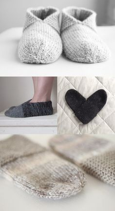 Knitting Patterns Slippers A look through all the gorgeous Simple House Slipper projects - Temple of Knit Knitting Socks, Free Knitting, Loom Knitting, Knitting Patterns, Crochet Patterns, Stitch Patterns, Knitted Slippers, Knit Slippers Pattern, Shark Slippers