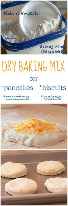 Homemade Dry Baking Mix (DIY Bisquick) is less expensive and better for you than the store bought kind! Get the recipe on http://itsyummi.com - Use it for homemade biscuits, pancakes, muffins, cakes, and more!