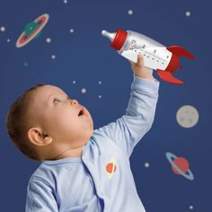 Shaped as a rocket this drinks baby bottle is sure to be a Unique space gift accessory for Christmas this year, for babies and toddlers best seller presents UK