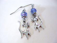 Cat Charm Earrings, Cat Earrings, Birthstone Earrings, Kitty Earrings, Cat Jewelry by CharmAccents on Etsy