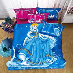 Disney Cinderella Kids Bedding Quilt/Duvet Cover Set Twin Cotton Bedding Set