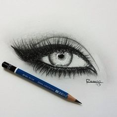 drawing of an eye love the winged eyeiner looks cool