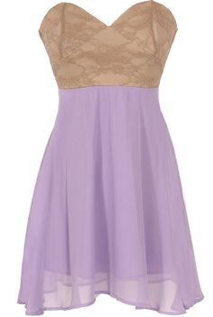 Strapless Floral Lace Bustier Dress in Lavender/Taupe  www.lilyboutique.com