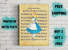 Alice In Wonderland All In The Golden Afternoon Music Art Disney Art, Alice In Wonderland, Panda, Unique Jewelry, Handmade Gifts, Music, Prints, Poster, Stuff To Buy