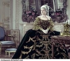 A colored still from Marie Antoinette (1938) with Norma Shearer. Costume design by ADRIAN. MGM