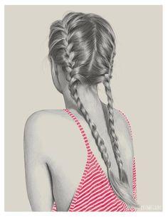 Image via We Heart It https://weheartit.com/entry/169649469 #art #artist #beautiful #braid #drawing #girl #hair #illustration #lovely #plats #pretty #stripes #wow #keimeguro
