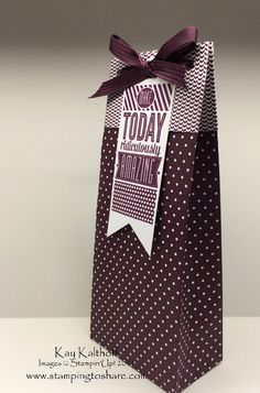Making a TALL Gift Bag with the Gift Bag Punch Board + the How To Video!, Kay Kalthoff, Stamping to Share, Amazing Birthday, Treat Bags