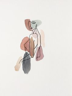 ANML studio's emotionally evocative work aims to draw in the viewer by revealing intimate situations, aspects of the human experience, and evidence of the mindset/process of the artist. Art Sketches, Art Drawings, Abstract Face Art, Outline Art, Minimalist Art, Aesthetic Art, Art Inspo, Painting & Drawing, Watercolor Art