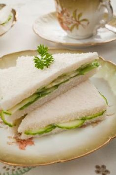 My mom & I have had these before at a little British tea room, they were tasty & went well with a pot of tea...Tea Party Cucumber Sandwich Recipe