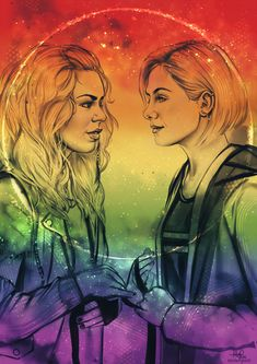 "sheep-in-clouds: "" Rose Tyler and Thirteen having a Gallifreyan wedding in rainbow colors. One of the lovely commissions I worked on recently commissioned by natural–blues.tumblr.com (prints:..."
