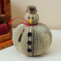 Book Art Snowman Christmas ornament decoration Upcycled handmade frosty Medium size by CreatonCrafts Snowman Christmas Ornaments, Snowman Crafts, Christmas Books, Christmas Paper, Holiday Crafts, Christmas Trees, Christmas Decor, Old Book Crafts, Book Page Crafts