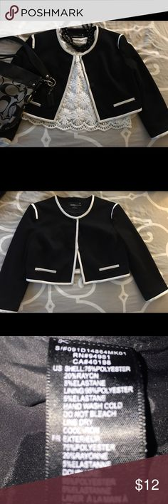 Audrey Hepburn inspired black with white jacket. Audrey Hepburn inspired black jacket with white trim, 3/4 length sleeves. Very good condition only worn a few times. Fits more like a small. Forever 21 Jackets & Coats Blazers