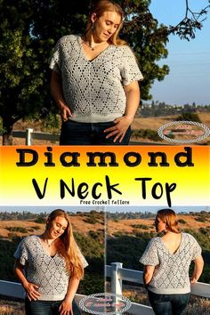 The Diamond V Neck Top is such an amazing and versatile pattern. It features the Diamond Lace Stitch which is like a filet crochet stitch. The pattern is available in sizes from XS to Mode Crochet, Crochet Tops, Crochet Sweaters, Crochet Tunic, Crochet Lace, Black Crochet Dress, Filet Crochet, Crochet Edgings, Crochet Borders