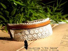 Collection HIVER 2014-2015 / L'Eté Indien de ZAELLEZA / Bracelet NOOTKA moutarde #cuir #dentelle #eteindien #zaelleza