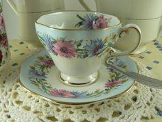 Vintage 1950s Foley Cornflower Teacup & Saucer Set Bone China England