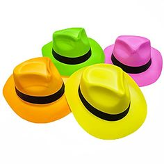Novelty Place® [Party Stars] Neon Color Plastic Gangster Fedora Party Hats for Adult Teens and Kids (Pack of 12) Novelty Place http://www.amazon.com/dp/B00XCZKXN4/ref=cm_sw_r_pi_dp_ed3xvb1X3NEZF