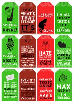 Funny Grinch Quote Christmas Gift Tags Printable by CraftyGoode