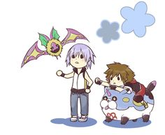 Sora and Riku with the Meow Wow and Komory Bat Dream Eaters