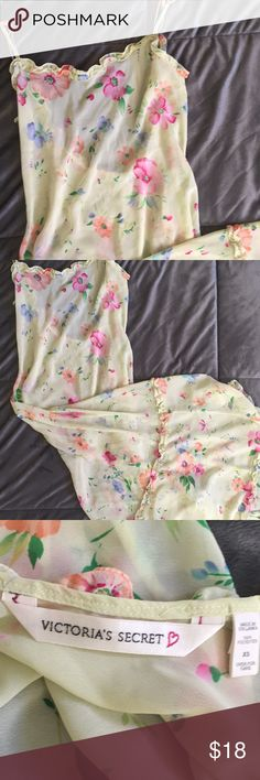 Victoria Secret long nightie Victoria Secret long nightie size XS very pretty yellow with flowers. Victoria's Secret Intimates & Sleepwear Pajamas