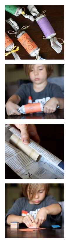 Eco-Friendly Party Poppers - Use toilet paper rolls & newspaper and fill them with goodies for party guests!
