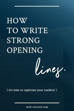 How to Write Strong Opening LinesWhether you're writing the first line of your book or simply starting a new chapter, opening lines are tough. In the span of just a sentence or two, you must convince readers that your story is worth their time. Creative Writing Tips, Book Writing Tips, Writing Process, Writing Resources, Writing Help, Writing Skills, Writing Ideas, Short Story Writing Tips, Creative Writing Inspiration