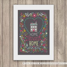 """Home Sweet Home"" (Charcoal) part of the Lovely Words art print collection"