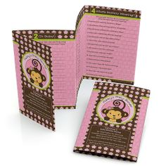 Monkey Girl - Personalized Baby Shower Fabulous 5 Games | BigDotOfHappiness.com Baby Shower Game Ideas