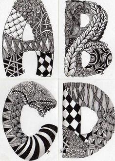 Zentangle alphabet letters reyn's nest: april 2010 doodle for beginners, zentangle for beginners, Doodle Art Drawing, Zentangle Drawings, Doodles Zentangles, Art Drawings, Zantangle Art, Zen Art, Doodle Patterns, Zentangle Patterns, Doodle Ideas