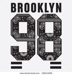 Brooklyn college sport bandana typography, t-shirt graphics, vectors - stock vector