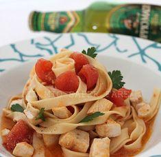 Pasta fresca alla birra con pesce spada e pomodorini