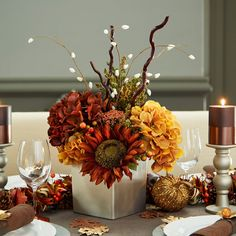 Add fall ambiance to your table when you make this easy DIY Fall Floral Centerpiece