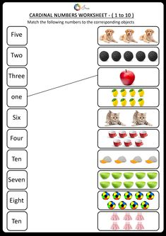 Printable Cardinal Numbers English Worksheets for your Child Months) - Ira Parenting English Activities For Kids, Learning English For Kids, English Lessons For Kids, Kids English, Math For Kids, English Worksheets For Kindergarten, Kindergarten Math Activities, Kindergarten Math Worksheets, School Worksheets