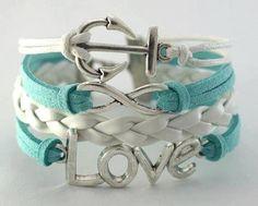 Love Forever Bracelet in White & Tiffany Blue