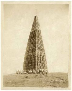 A tower of alcohol being burnt during Prohibition.