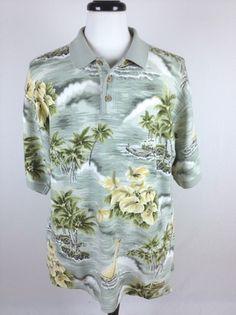 Tommy Bahama Shirt Polo Short Sleeve Hawaiian Flower Print Relax Shirt Mens L | eBay