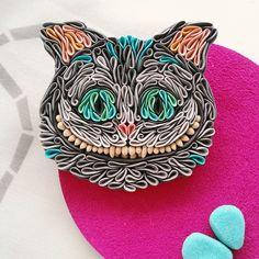 Купить Брошь Чеширский кот из полимерной глины - серый, чеширский кот, чешир