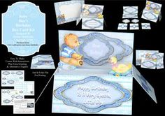 Baby Boy s Birthday   Pop up Box Card Kit with Envelope on Craftsuprint - View Now!