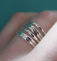 Sterling Silver Stacking Ring Set  Thin Hammered  Set by esdesigns, $46.00