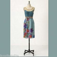 FLOREAT Anthropologie Dress Timeless Manor Gates Silk Blend Embroidered Size 2 DON'T MISS OUT!   SOLD!