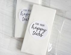 For Your Happy Tears Tissue Stickers Wedding Tissues Favor Favour Labels by Azmari