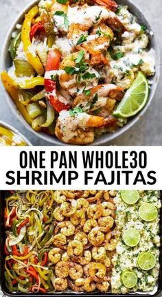 whole 30 recipes Ive got a one pan shrimp fajitas recipe that is going to blow your mind and make your belly oh so happy. These shrimp fajitas are paleo, dairy free and The creamy homemade ranch sauce on top really brings everything together, too! Easy Paleo Dinner Recipes, Paleo Menu, Paleo Dairy, Whole Food Recipes, Healthy Recipes, Fast Recipes, Easy Whole 30 Recipes, Whole 30 Meals, While 30 Recipes