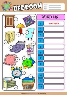 Bedroom Write the Words ESL Vocabulary Worksheet