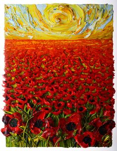 36x48 Field Of Poppies By Justin Gaffrey
